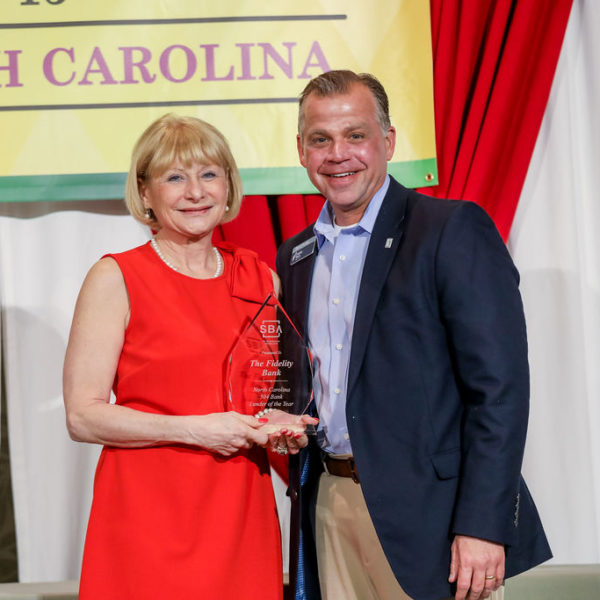 SBA Award 2019, a man and woman holding it together