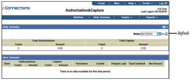 E-Connections Authorization and Capture Daily Summary Menu