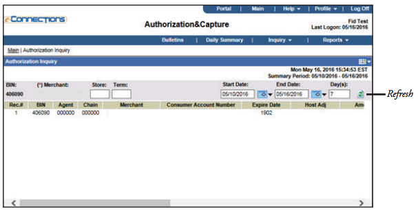 E-Connections Authorization and Capture Date Range