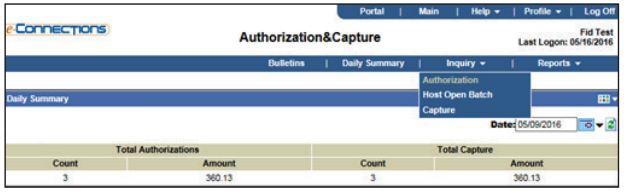 E-Connections Authorization and Capture Inquiry