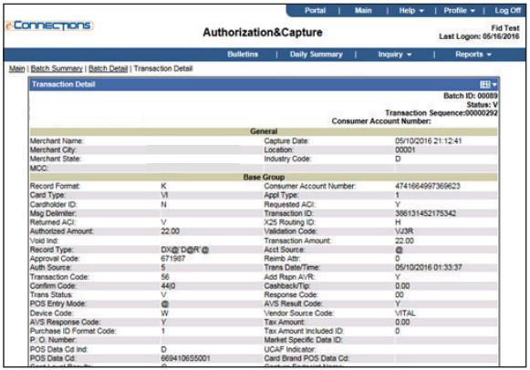 E-Connections Authorization and Capture Transaction Details