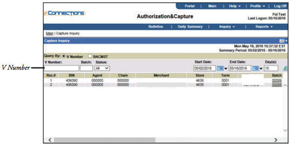 E-Connections Authorization and Capture V Number