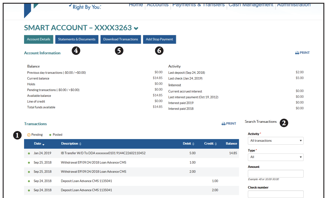 Account history screen shot showing steps 1-6