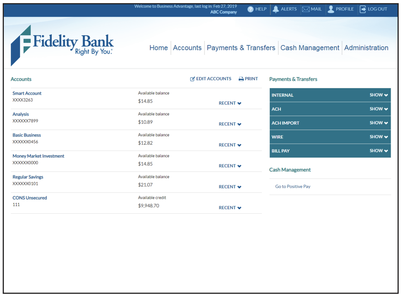 Screen shot of the account summary home page