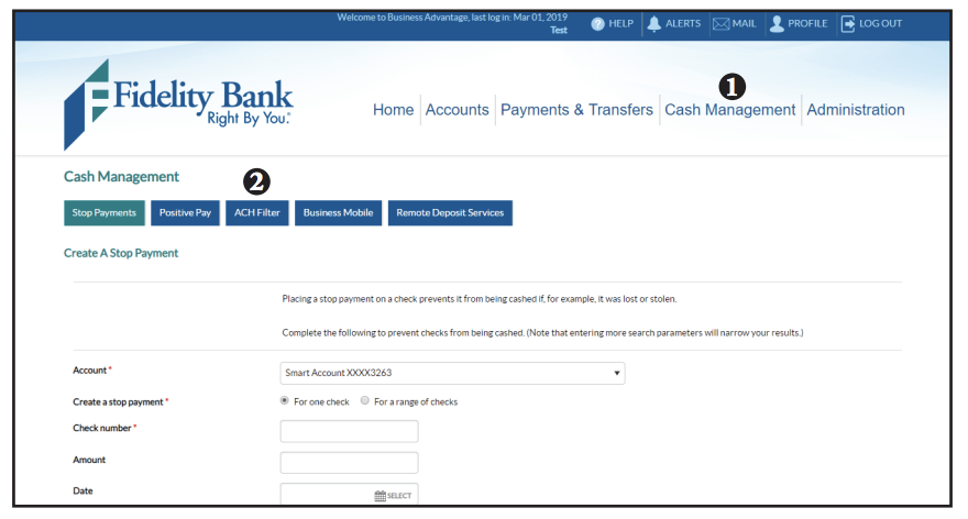 Screen shot of cash management to ACH filter