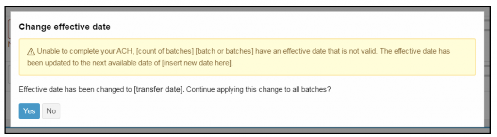 Screen shot of step 4.5 Change Effective Date Warning for Multi-batch Files