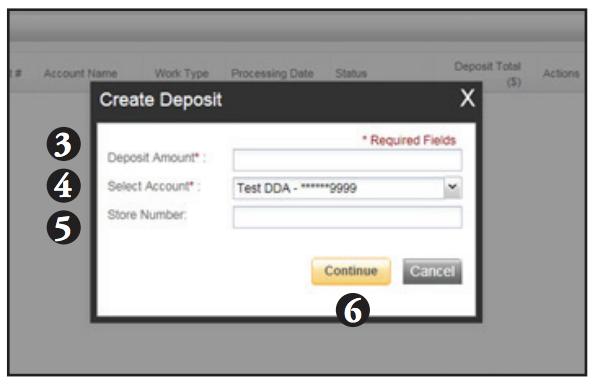 Contemporary Remote Deposit Create Deposit screen shot of steps 3-6