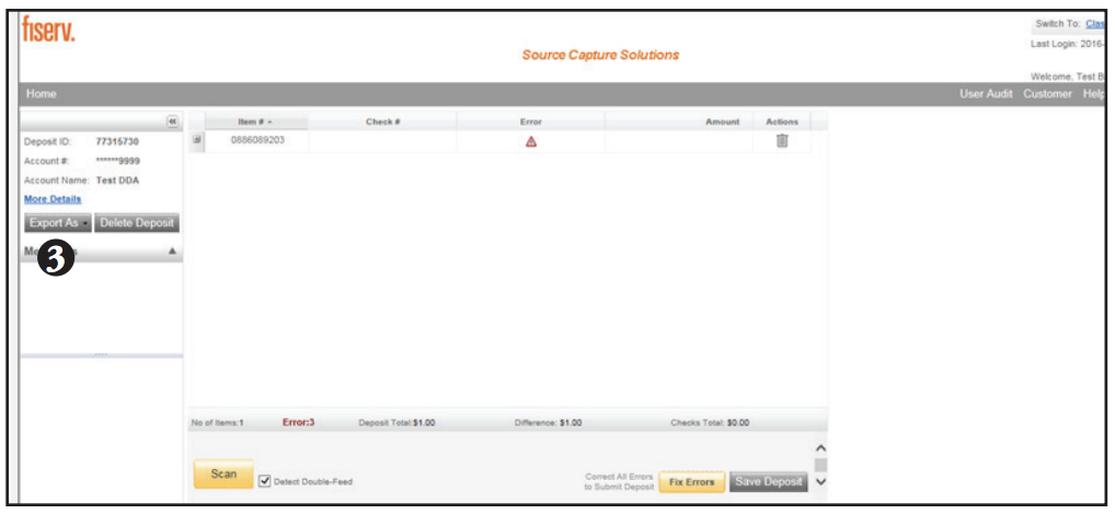 Contemporary Remote Deposit Printing Receipts screen shot of step 3