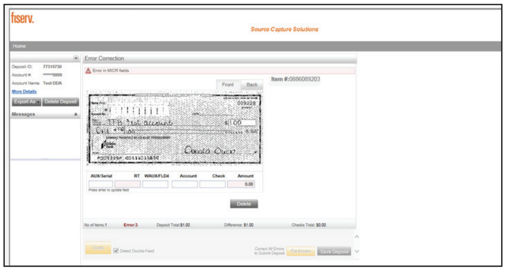Contemporary Remote Deposit Processing Exceptions screen shot of MICR