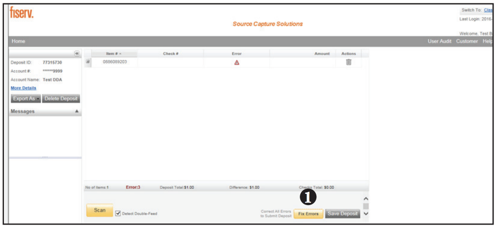 Contemporary Remote Deposit Processing Exceptions screen shot of step 1