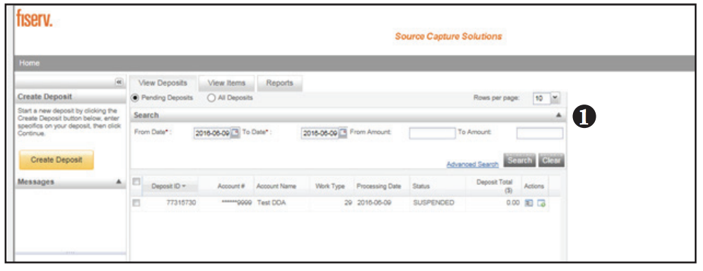 Contemporary Remote Deposit screen shot of query