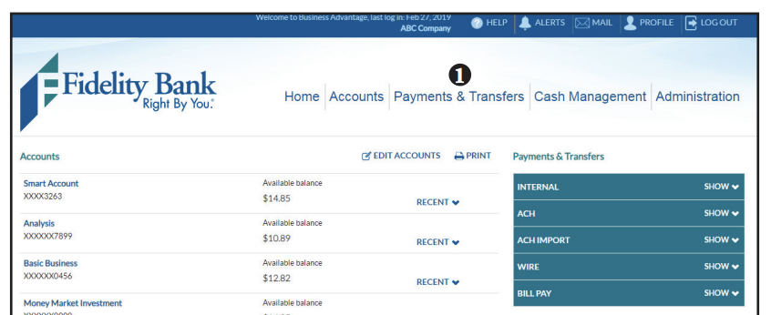 Domestic wire transfer screen shot of step 1