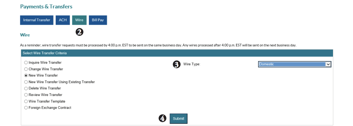 Domestic wire transfer screen shot of steps 2-4