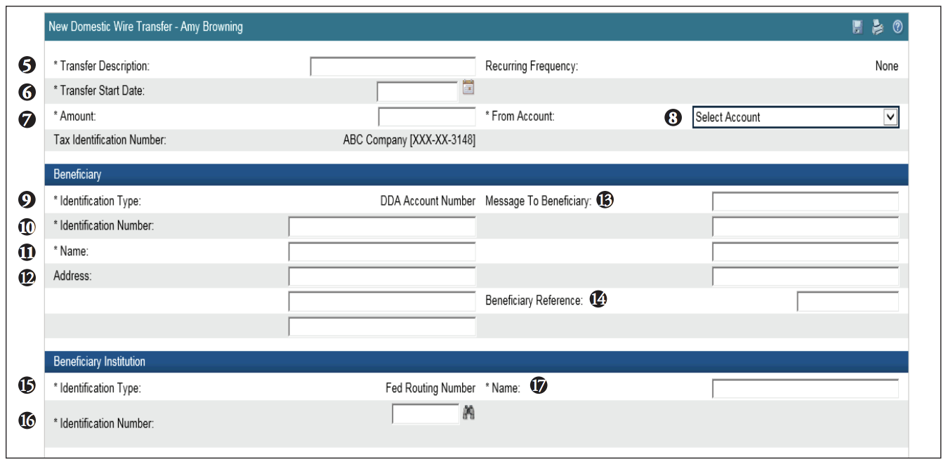Domestic wire transfer screen shot of steps 5-17