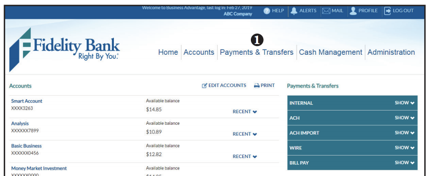 Editing domestic wire transfer screen shot of step 1