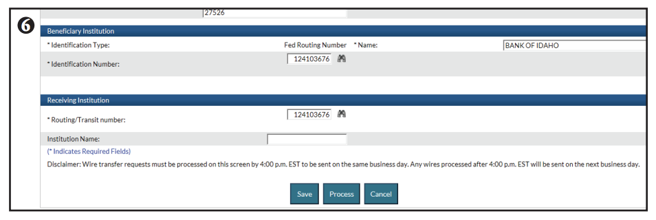 Editing domestic wire transfer screen shot of step 6