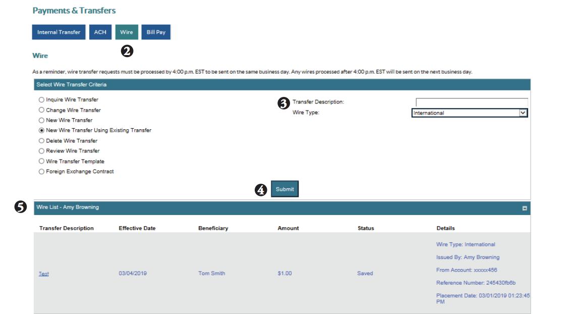 Editing international wire transfer screen shot of steps 2-5