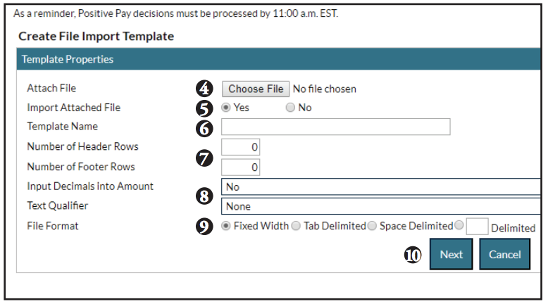 Importing using templates screen shot of steps 4-10