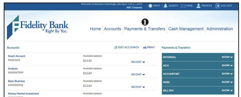 International wire transfer screen shot of step 1