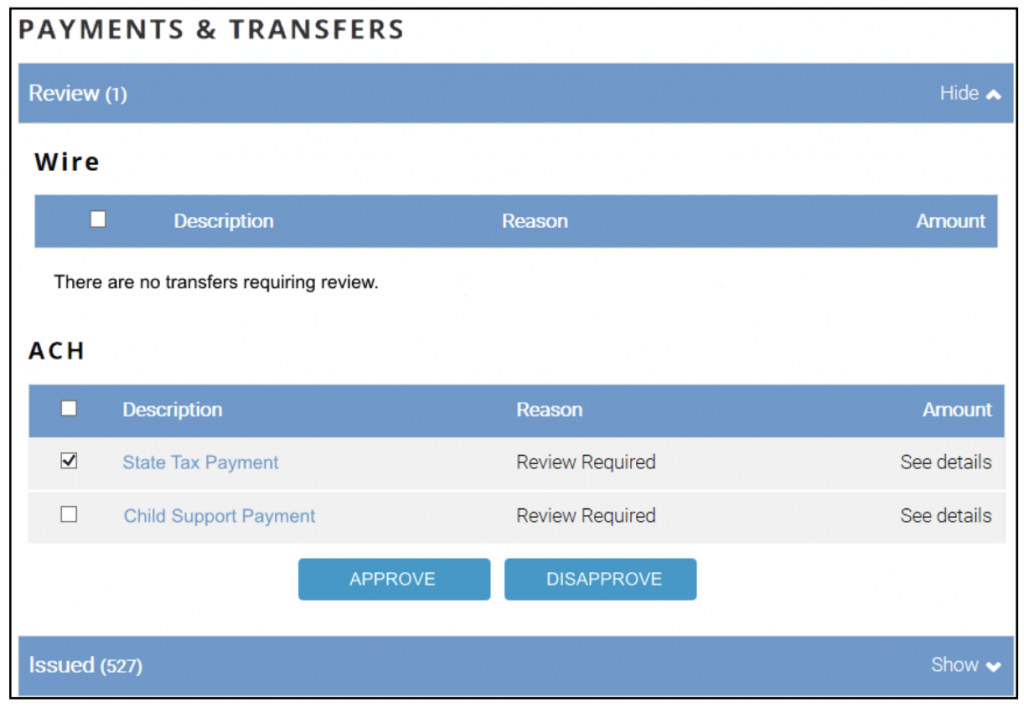 Screen shot of step 4.3 Payments and Transfer Review