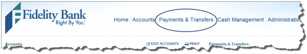 Screen shot of Payments and Transfers