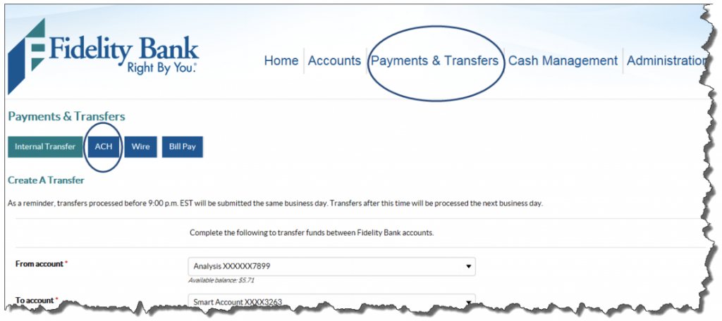Screen shot of Payments and Transfers with ACH.