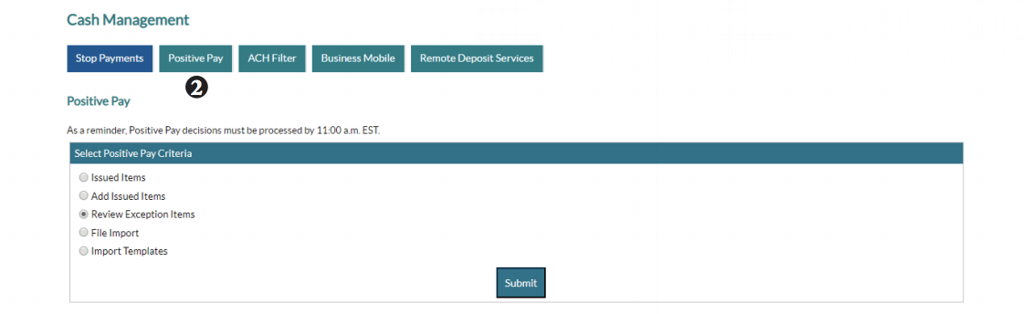 Reviewing Positive Pay Exceptions screen shot of step 2