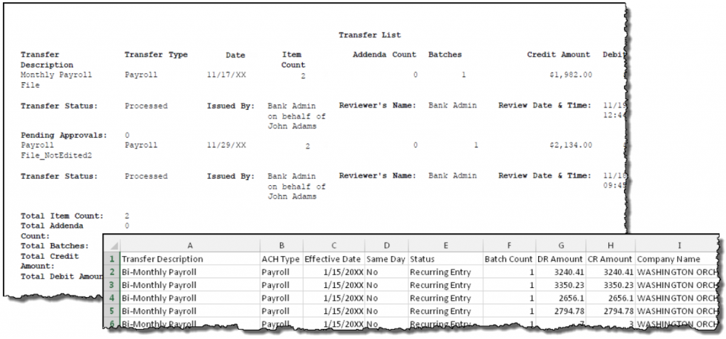 Screen shot of a sample PDF and CSV Transfer Report