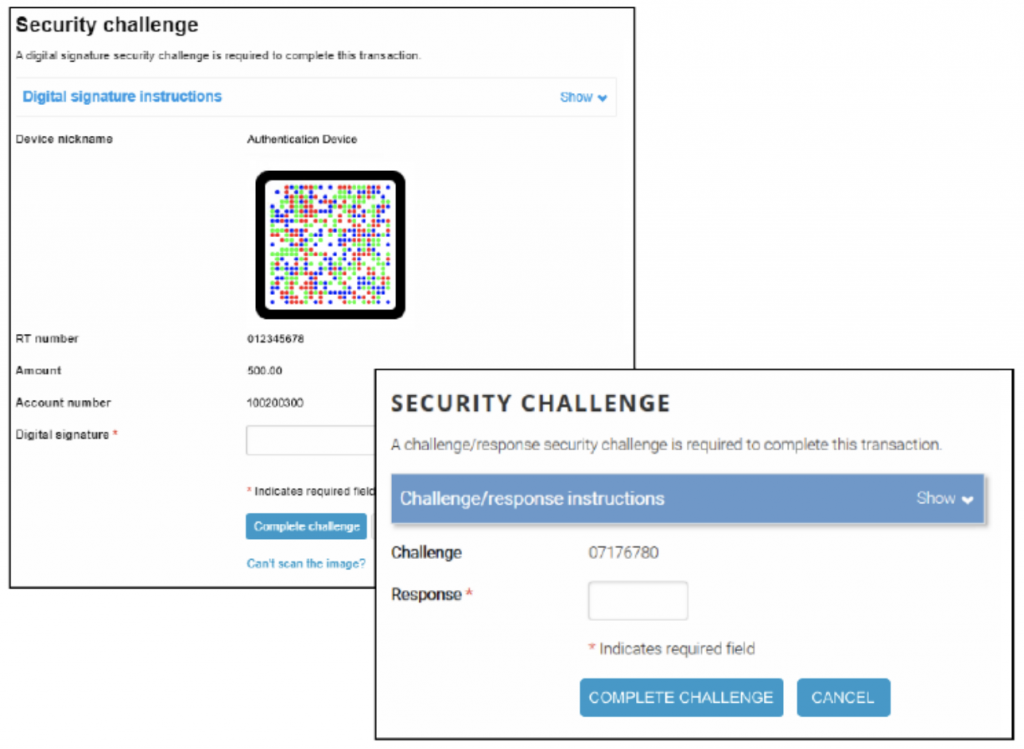 Screen shot of the Security Challenge.