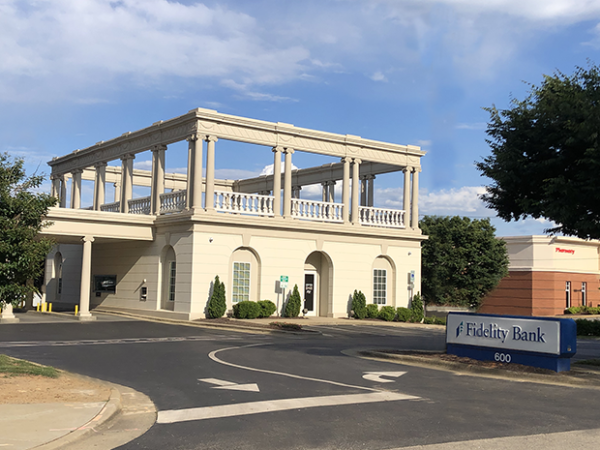 An image of a sunny day at the Cameron Village bank