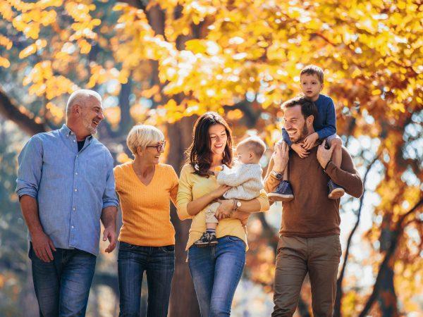 Multigenerational family in autumn park