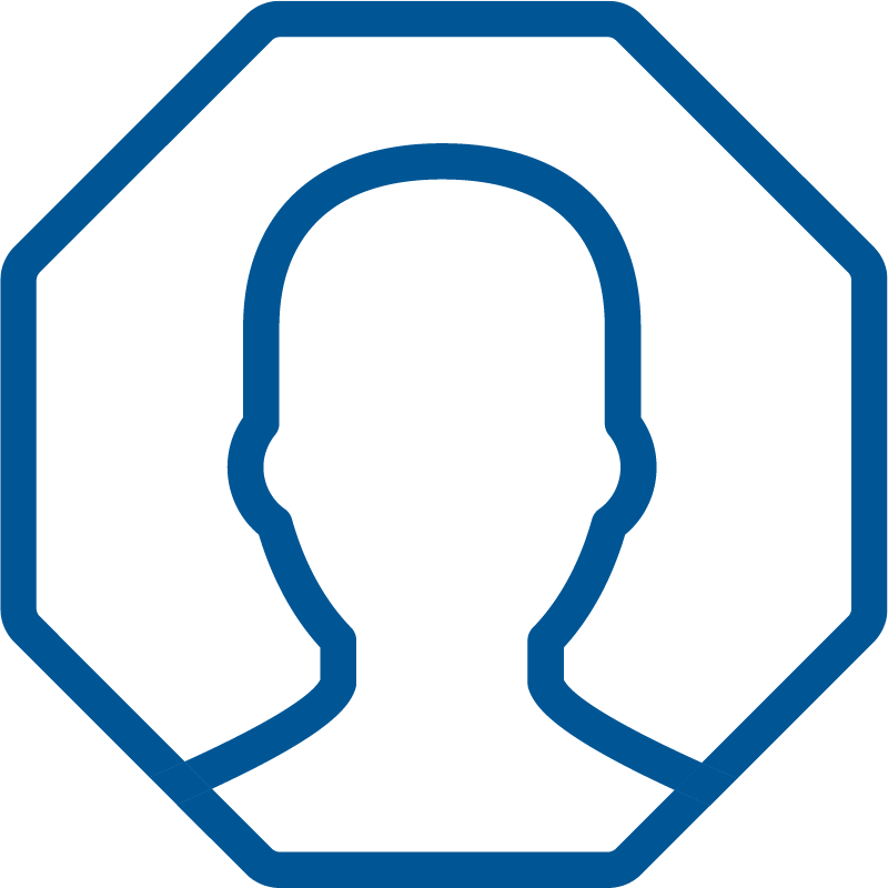 Image Octagon Shape with Outline of Person Inside